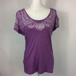 Prana Purple Short Sleeve Top Womens Size Large
